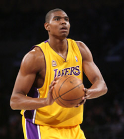 Bynum didn't put up huge numbers in Game 1, but did a great job defending Dwight Howard.